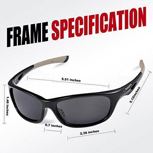 412fff2479 Duduma Polarized Sports Sunglasses for Men Women Baseball Running Cycling  Fishing Driving Golf Unbreakable Frame Du646 (Black frame with black lens)   ...