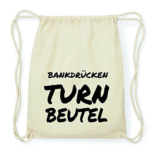 JOllify BANKDRÜCKEN Hipster Turnbeutel Tasche Rucksack aus Baumwolle - Farbe: natur Design: Turnbeutel