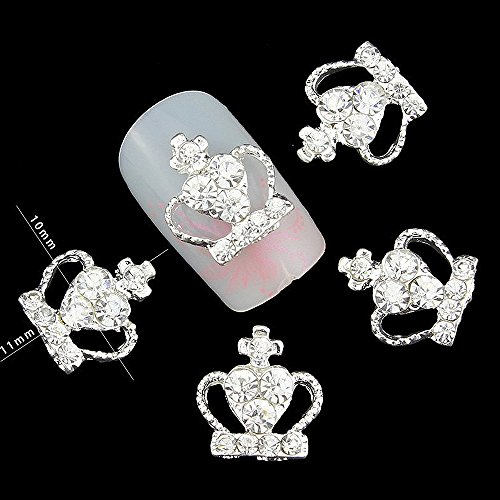 20pcs/pack Diamonds Crown Silver Metal Rhinestones 3d Nail Art Decorations Alloy Nail Stickers Charms Jewelry for Nail Gel/Polish Tools Scrapbook -