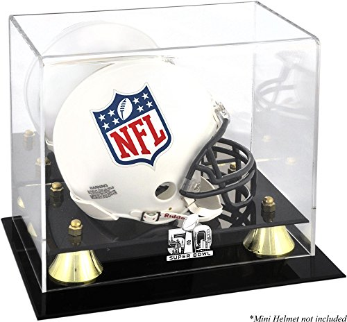 Sports Memorabilia Super Bowl 50 Golden Classic Mini Helmet Logo Display Case - Football Mini Helmet Free Standing Display Cases