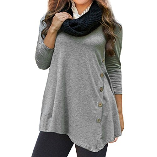Lightning Deals Tunic Top,ZYooh Women 3/4 Sleeve Loose Button Trim Blouse Solid Color Round Neck Blouse T-Shirt (Gray, S)
