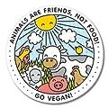 Go Vegan Happy Animals Vinyl Sticker - SELECT SIZE