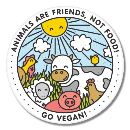 Go Vegan Happy Animals Vinyl Sticker - Car Window Bumper Laptop - SELECT SIZE