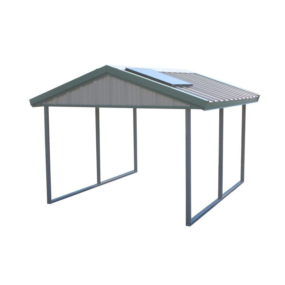 PWS Premium Canopy 12 ft. x 20 ft. Light Stone and Patina Green All Steel Carport Structure with Durable Galvanized Frame