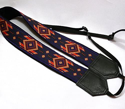 Camera Strap Inspired by Native American DSLR//SLR Camera Strap Blue and red Southwestern Ethnic Camera Strap Bright Camera Strap Code 00121 Light and Well Padded Camera Strap Durable