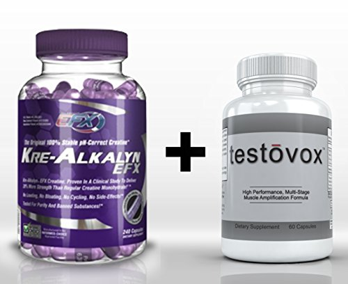 Kre-Alkalyn (240 Capsules) & Testovox (60 capsules) - High Performance Muscle Building Combo. Professional Supplément Force de Bodybuilding Stack