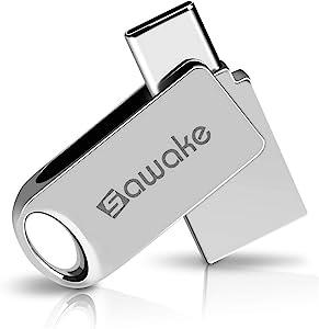 SAWAKE USB C Flash Drive, 64GB USB 3.0 Type C Waterproof Thumb Drive, Dual Drive Memory Stick with Keychain for Android Smartphone New MacBook