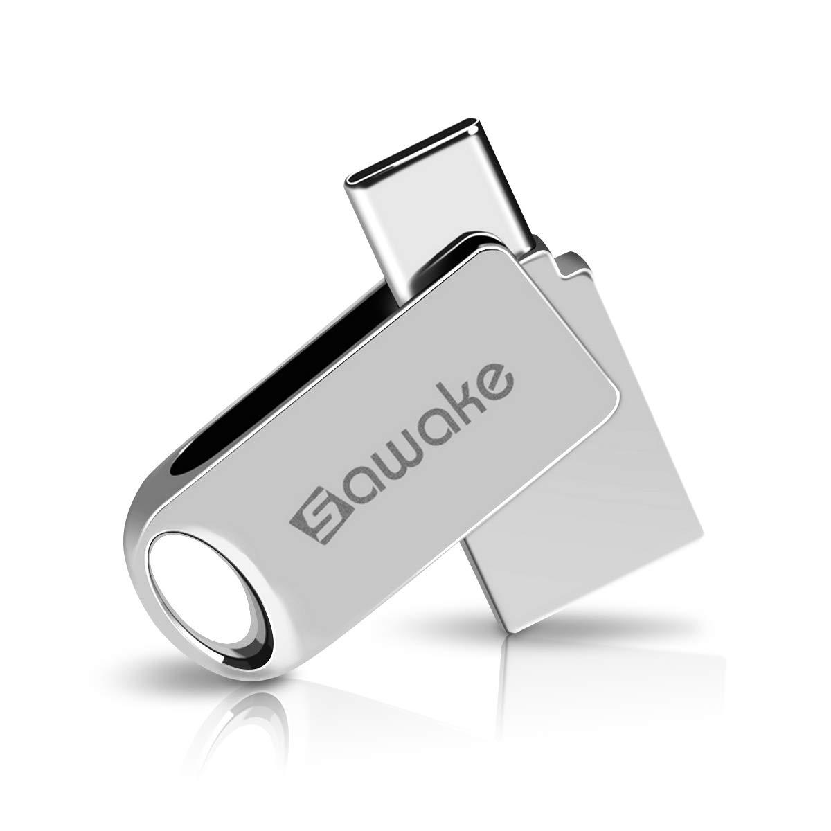 USB C Flash Drive, SAWAKE 64GB USB 3.0 Type C Waterproof Thumb Drive, Dual Drive Memory Stick with Keychain for Android Smartphone/New MacBook/Google's Chromebook Pixel