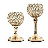 VINCIGANT Gold Crystal Candle Holders Set of 2 for Modern Wedding Table Decorative Centerpieces/Anniversary Celebration House Home Dining Room Decor Gifts,8 and 10 Inches Tall
