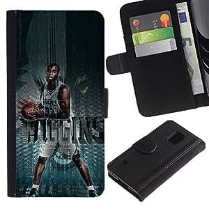 SAMSUNG Galaxy S5 V / i9600 / SM-G900 , la tarjeta de Crédito Slots PU Funda de cuero Monedero caso cubierta de piel (Basketball Wolves Wiggins)
