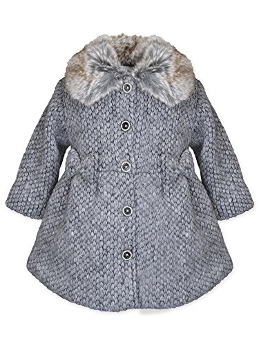Widgeon Little Girl's Faux Fur Collar Sweater Coat 3730 Outerwear, WSG/Grey Sweater, 6 by Widgeon