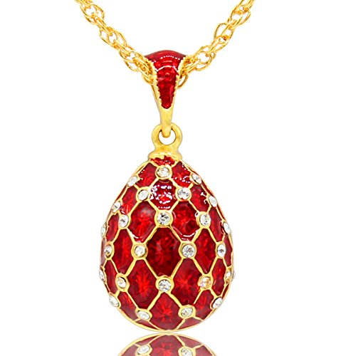 Crystal Egg Pendant - MYD Jewelry Handcrafted Enamel Crystal Faberge Egg Easter Egg Pendant Necklace (Red)