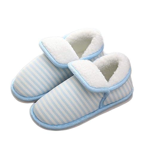 Zapatillas para Mujer Invierno cálido Zapatilla Felpa Piel Bota Mocasines Antideslizante Botines Raya Ligero Suave Zapatos