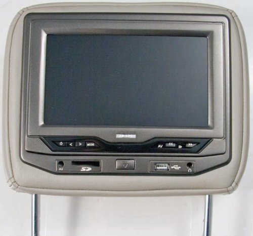 Power Acoustik HDVD-73GR Single 7-Inch Replacement Headrest with DVD and Video Monitor (Gray)