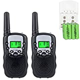 Sigdio Kids Walkie Talkies Rechargeable Kids Walkie Talkies 22CH FRS License Free with Multi-Charger Rechargeable Batteries VOX and Torch (Black, 8 Rechargeable Batteries)