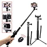 Selfie Stick Bluetooth, YoTilon Extendable Selfie Stick(Battery Free) with Wireless Remote and Tripod Stand Selfie Stick for iPhone, Samsung, other Android phones, digital cameras and GoPro