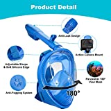 RayCue Full Face Snorkel Mask for Kids, 180° Seaview Easy Breathing Snorkeling Masks with Anti-Fog Anti-Leak Safety Diving System & Detachable Action Camera Mount