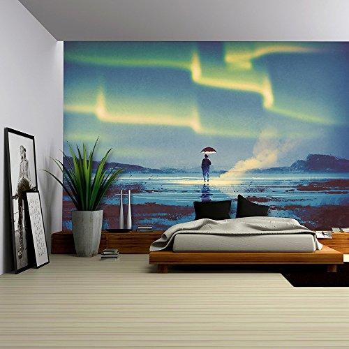 Northern Lights Aurora Borealis over Man Holding Umbrella Lights Illustration Painting