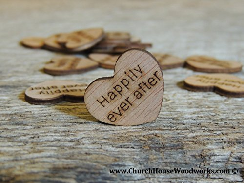 (Wooden Heart Confetti ~ Happily Ever After ~ Wood Hearts, Wood Confetti Engraved Love Hearts- Rustic Wedding Decor (100 count) )