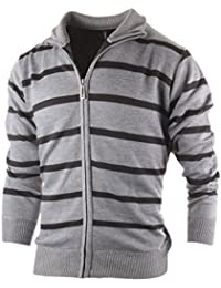 Men's Zip Up Striped Turtleneck Long Sleeve Sweater Business Style Cardigan