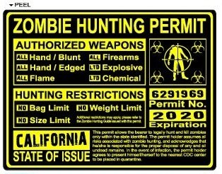 California CA Zombie Hunting License Permit Yellow - Biohazard Response Team - Window Bumper Locker Sticker