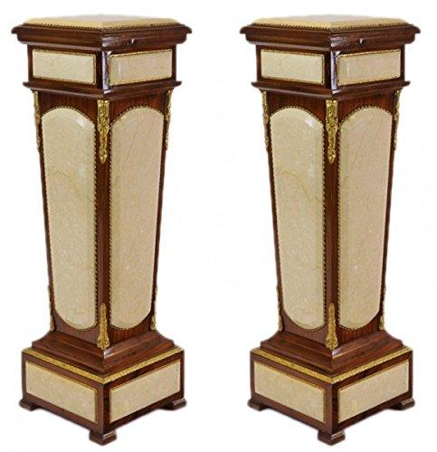Casa Padrino Barock Säulen Set Mahagoni / Creme mit Marmorbesatz (2 Stk)