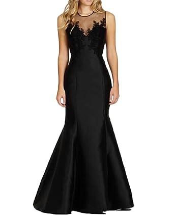 QiJunGe Elegant Black Satin Evening Dress Mermaid Formal Prom ...