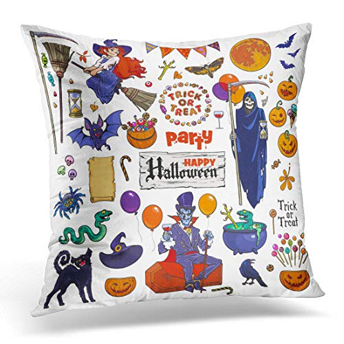 Emvency Throw Pillow Covers Case Big of Halloween Cartoon Characters and Objects Death Grim Reaper Skeleton Count Dracula Vampire Witch Pillowcase Cushion Cover for Sofa Bedroom Car 20 x 20 Inches ()