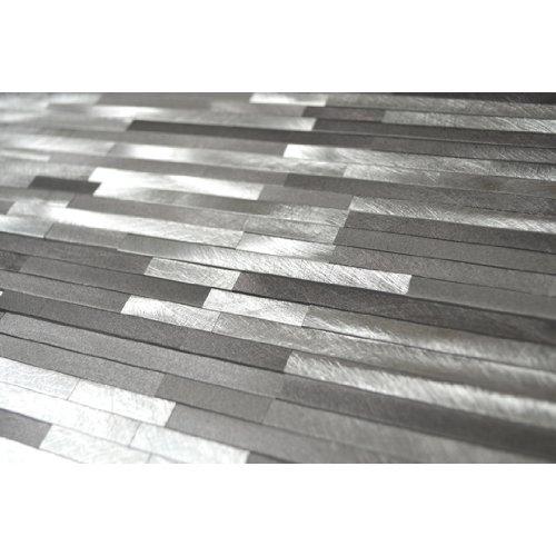 Grey Blends Thin Lines Aluminum Mosaic Tile - Kitchen Backsplash / Bath Backsplash / Wall Decor / Fireplace Surround