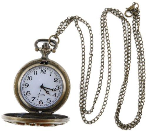 [Antique Brass Filigree Steampunk Victorian Era Pocket Watch on a Chain (Functional)] (Victorian Era Womens Costumes)