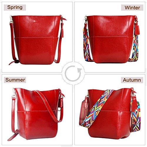 Handbags Leathario Designer Tote Women's Red Purses Bucket Shoulder Leather Bags CxqaxtwB