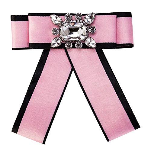 Wcysin Fashion Nice Brooch Bow Ribbon Diamond Brooch Wedding Party Bow Tie Collar Brooch Pin for Women & Girl (Pink) ()