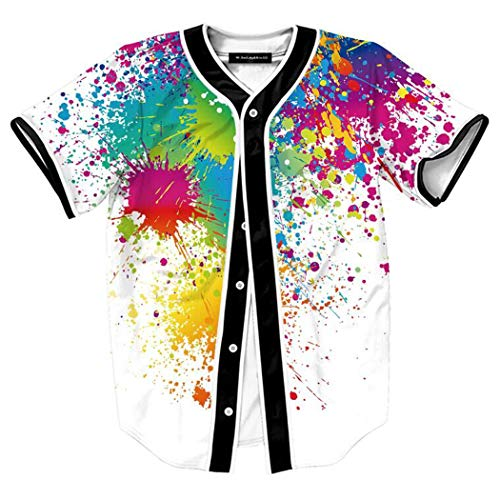 (HOP FASHION Youth Mens Women Boys Girl Kids Baseball Jersey Short Sleeve Button Down Shirts 90s Theme Party 3D Splatter Colorful Print Baseketball Dance Team Uniform Tees HOPM007-130-XXXL)
