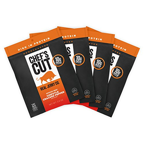 Chef's Cut Tender Real Steak Chipotle Cracked Pepper Jerky - Made with Premium Cuts, Gluten & Nitrite Free - Perfect Smoked Jerky Snack for On The Go, 2.5 Ounce (Pack of 4)