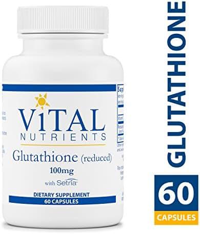 Vital Nutrients - Glutathione (Reduced) 100 mg - Antioxidant for the Liver - Promotes Liver Detox - 60 Vegetarian Capsules per Bottle