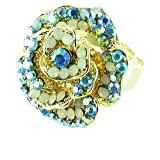 Blue on Gold Plated Small Blooming Flower Cocktail Ring