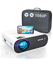 """WiFi Bluetooth Projector, WiMiUS K5 Mini WiFi Projector Full HD Support 1080P, 75% Zoom 200"""" Screen Compatible with Smartphone (Wirelessly)/PC/Bluetooth Speakers/TV Stick/PS4/PS5"""