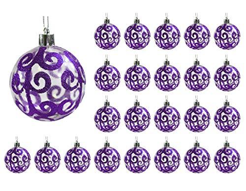 Festive Season 24pk 60mm Transparent Swirl Christmas Tree Ball Ornaments, Purple