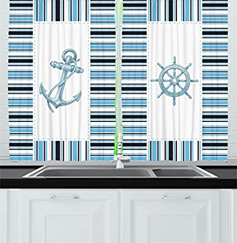 Navy Decor Kitchen Curtains by Ambesonne, Nautical Anchor Ship Helm Wheel Ocean Coastal Geometric Stripes Art Prints, Window Drapes 2 Panels Set for Kitchen Cafe, 55W X 39L Inches, Navy Blue and White