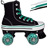 Hype Roller Skates for Girls and Boys MVP Kid's Unisex Quad Roller Skates with High Top Shoe Style for Indoor/Outdoor (Black & Teal, 2)