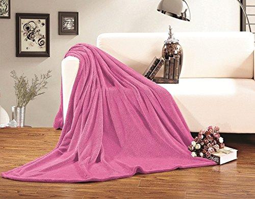 Elegant Comfort  Luxury Velvety Softness Fuzzy Plush Micro-Velour Ultra-Soft Blanket 100% Hypoallergenic, Full/Queen, Hot Pink