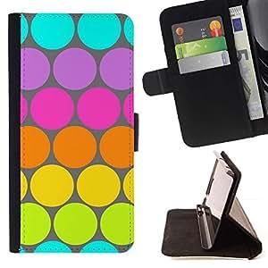 Momo Phone Case / Flip Funda de Cuero Case Cover - Modelo de punto azul verde lima colorido - Sony Xperia M5