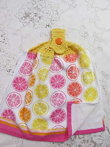 Yellow & Pink Citrus Double Layer Hanging Kitchen Towel with Yellow Cotton Crochet Top - Best Quality