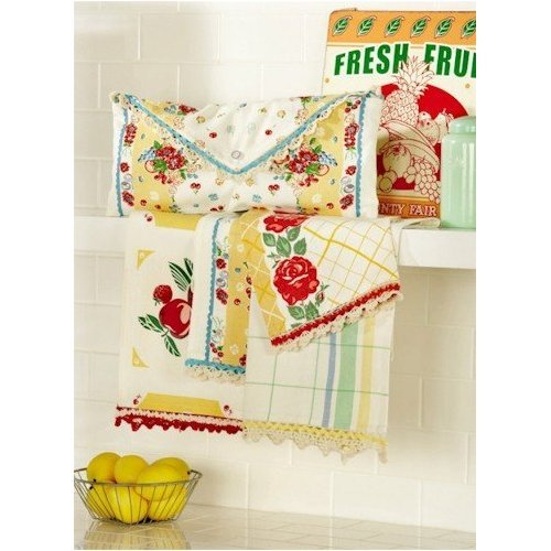 Moda Home Vintage Style Fresh Fruit in Yellow Kitchen Towels Set of 4 Retro Kitchen Towels