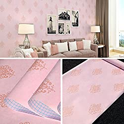 SimpleLife4U Vintage Pink Damask Self Adhesive Wall Decor Sticker for Bedroom Living Room 45x300cm