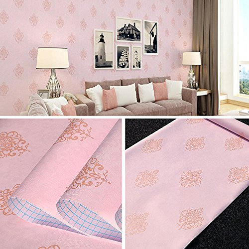 (SimpleLife4U Vintage Pink Damask Self Adhesive Wall Decor Sticker for Bedroom Living Room 45x300cm)
