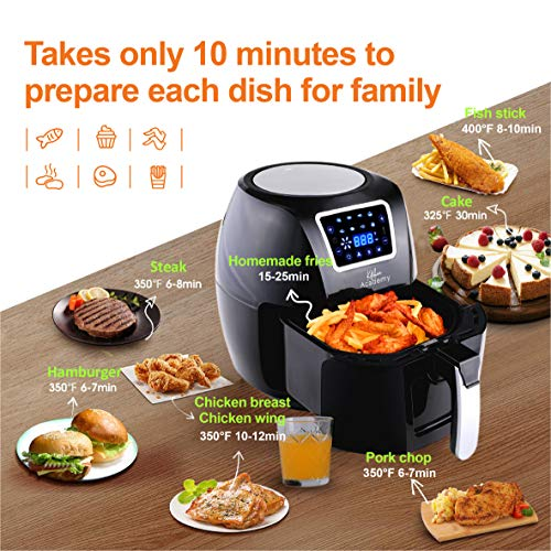 Kitchen Academy Upgrade Large Air Fryer Oven XL 58 Qt Air Cooker 1700W Oilless Cooker With 8 Cooking Presets and Heat Preservation Function Recipe Book Included