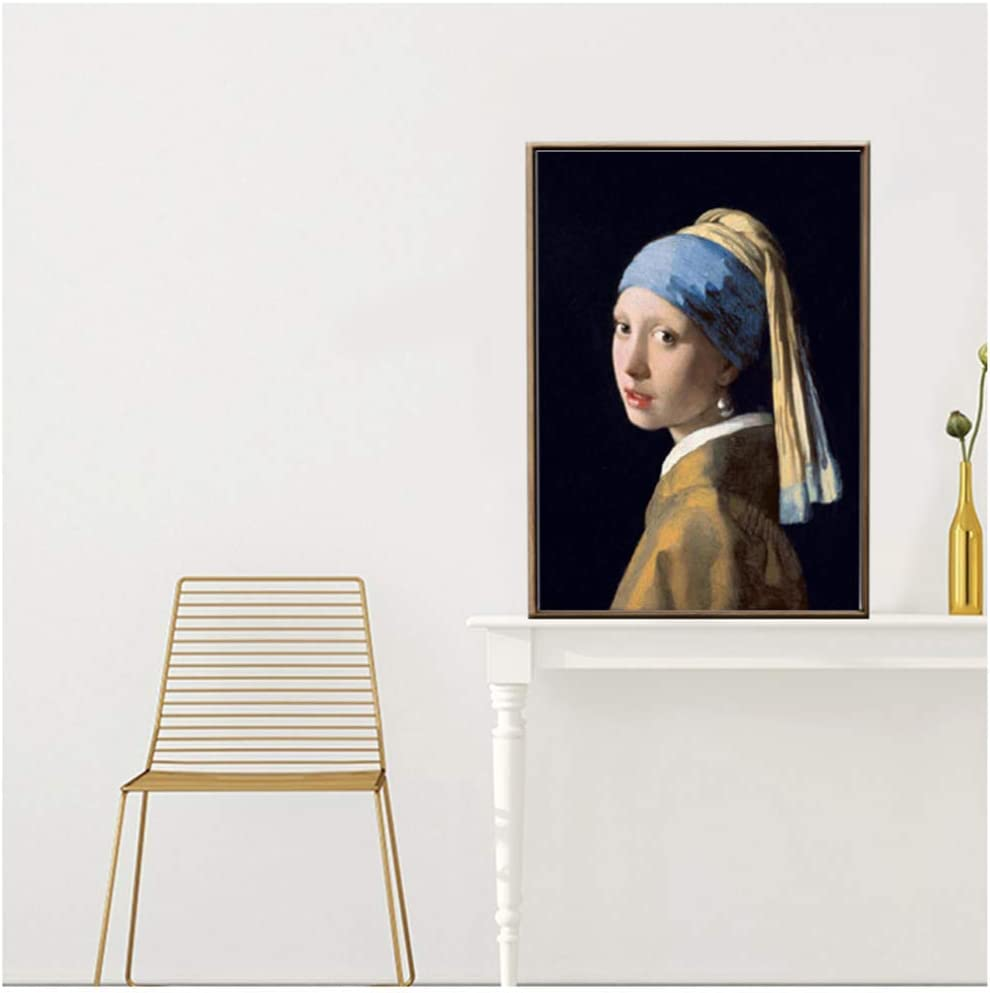 XingChen Cuadro en Lienzo 20x30cm sin Marco Chica con un Pendiente de Perlas Pintura al óleo Eleghant Lady Pintura Imágenes Decoración de Regalo para la Oficina en casa