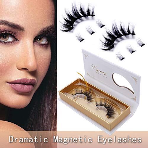 Eyewin Dramatic Magnetic Eyelashes 3D Long Eye lashes Extension, No Glue 8 Pcs False Eyelashes 5 Magnetic Lashes, Silk Natural Look Reusable Eyelashes Large