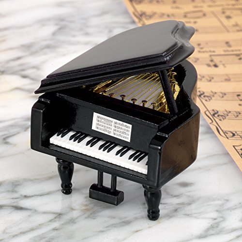 Bits and Pieces Mini Musical Grand Piano Music Box Plays Over The Rainbow - Wooden Wind-Up Music Box Plays for Two Minutes